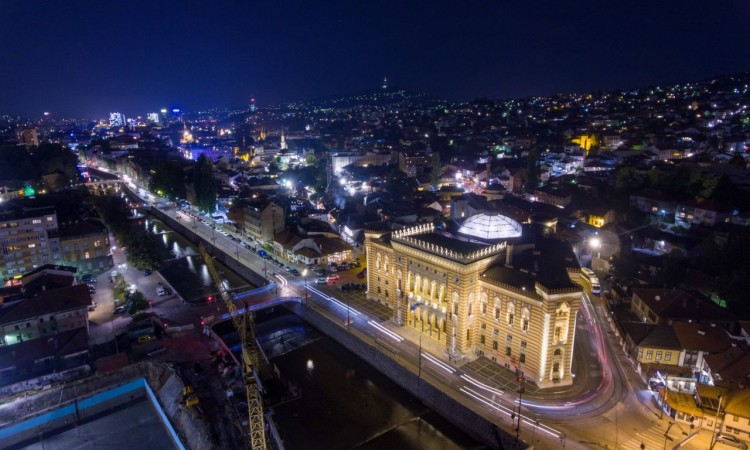 Sarajevo City Hall gets new illumination on the anniversary of its wartime destruction
