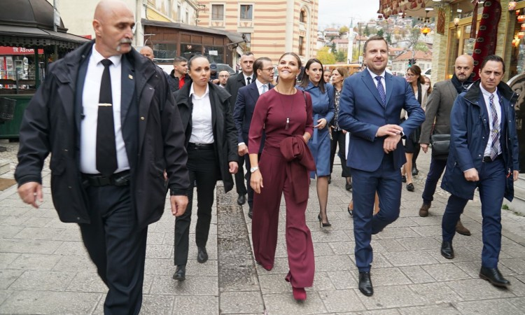Princess Victoria of Sweden and Prince Daniel walk the streets of Sarajevo