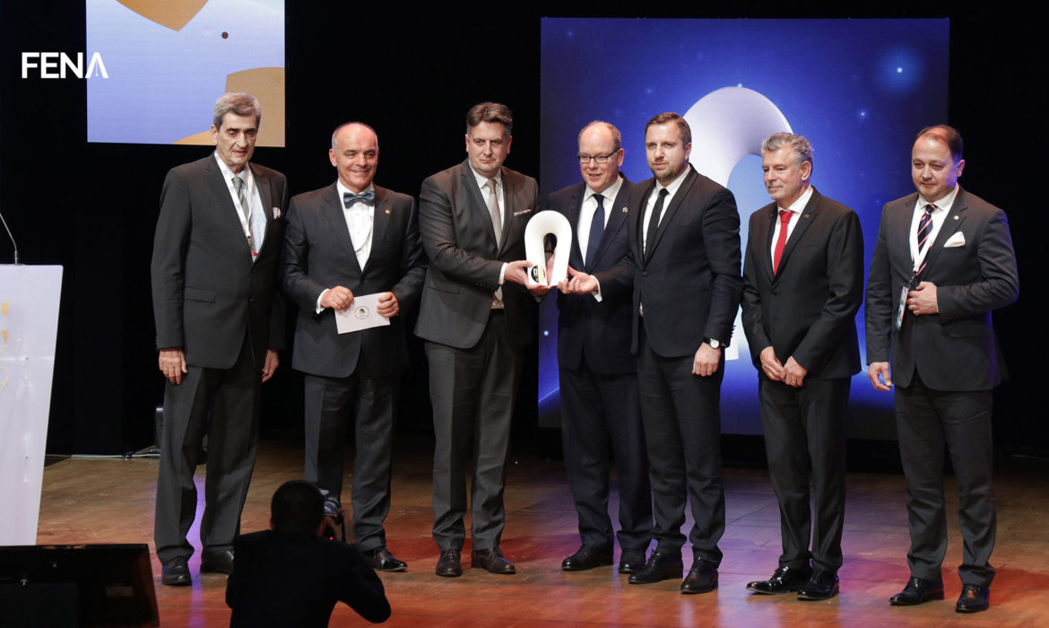 Prince Albert of Monaco awards recognition to the organizers of EYOF 2019