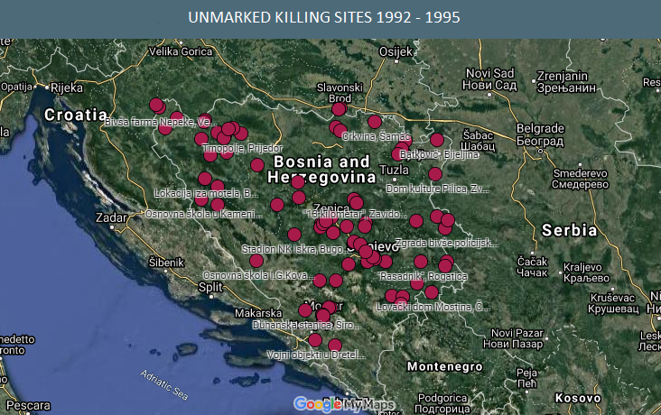 Online map of unmarked killing sites during the war in BiH presented in Sarajevo