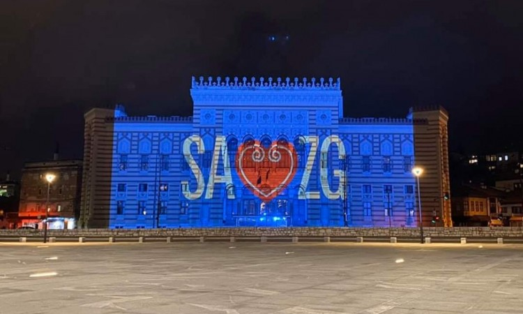 Sarajevo City Hall illuminated tonight in solidarity with the City of Zagreb