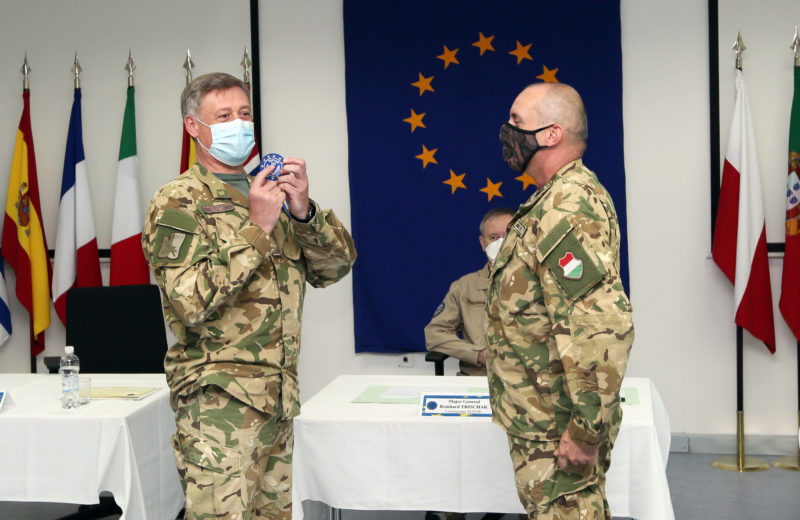 Brigadier General Szabo hands over post EUFOR Chief of Staff to General Barath