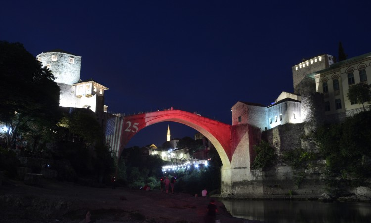 Mostar Old Bridge illuminated in the colors of United States flag marking the Independence Day