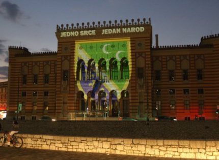 Sarajevo City Hall in the colors of the national flag of Bosniaks of Sandžak