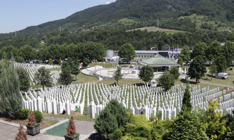 A funeral and collective burial of 9 victims of genocide held in Potočari today