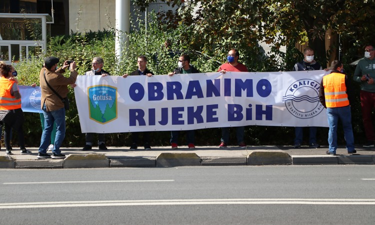 A protest held in Sarajevo urging the ban on the construction of small hydropower plants