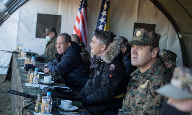 Komšić attends the US-BiH Bilateral Military Exercise at Glamoč training ground