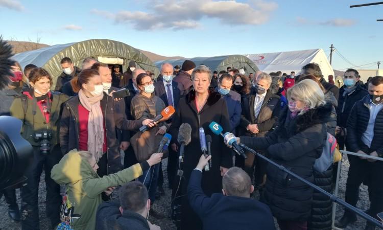 EU Commissioner Johansson and Minister Cikotić visit the Lipa camp near Bihać