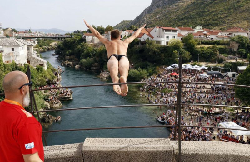 Milnović and Tiro the winners of the diving competition from the Old Bridge in Mostar