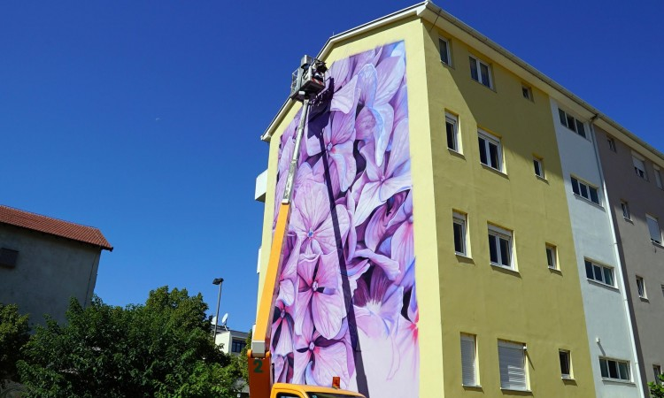 Artists from all over the world paint Mostar's building facades